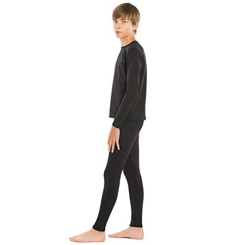 ViCherub Thermal Underwear Set for Boys Long Johns Fleece Lined Kids Base Layer Thermals Sets Boy Black