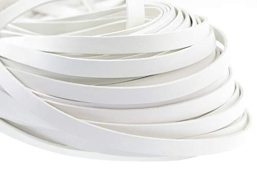 esnado Lederband Flach 10 mm x 2 mm. Weiß - 5 Meter