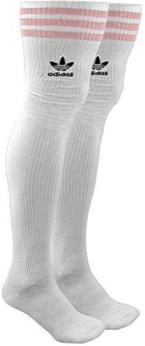 adidas Originals Oberschenkelhohe Overknee-Strümpfe, 1 Paar, Damen, sportliche Strümpfe, Women's Originals Thigh High Single OTC Sock (1-Pack), Weiß/Glory Pink/Schwarz, Medium