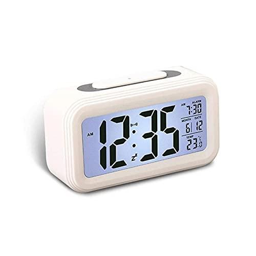 Huposdxjnz Despertador, Reloj de Alarma multifunción Espejo Digital Reloj de Alarma Luces de Noche Termómetro Termómetro Reloj de Pared Lámpara Cuadrado Rectángulo Rectángulo Relojes de Escritorio