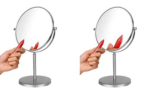 Ambrosya   Exclusivo Espejo cosmético de Acero Inoxidable con 5 aumentos   Baño Lámpara LED Maquillaje Espejo de vanidad Espejo de Mesa WC (Acero Inoxidable (Cepillado), 5X)