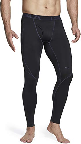 TSLA Men's Thermal Compression Pants, Athletic Running Tights & Sports Leggings, Wintergear Base Layer Bottoms, Heatlock Fly-Front(yup52) - Black & Charcoal, Large