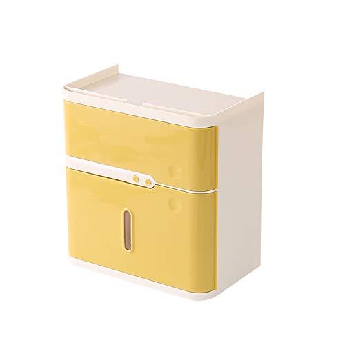 Xiaokeai El Soporte De Tejido De Plástico Puede Registrar El Tiempo del Período Menstrual Y También Es Una Caja Dispensadora De Tejido Multifuncional Que Se Puede Almacenar Artículos (Color : Yellow)