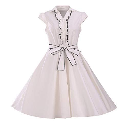 Bluelucon Vintage jaren 50 retro hartvorm knoop vleugelmouwen rockabilly jurk Hepburn partyjurk avondjurken petticoat knielange 1950 Rockabilly jurk