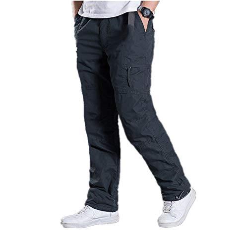 N\P Herren-Cargohose, Übergröße, dick, warm, volle Länge, mehrere Taschen, lässig, Militär, Baggy, taktische Hose Gr. 34-37, grau