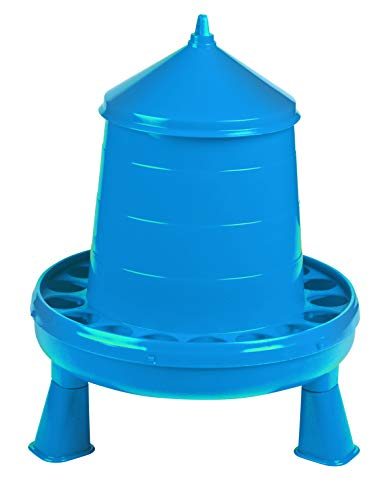 Poultry Feeder with Legs (Blue) - Durable Feeding Container with Carrying Handle for Chickens & Birds (8.5 Lb) (Item No. DT9873)