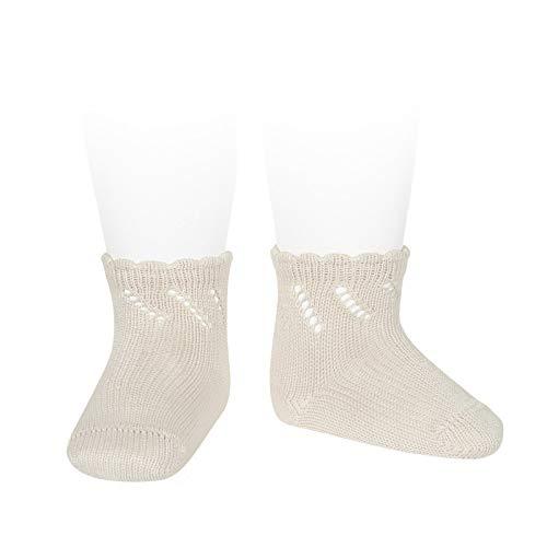 Cóndor Calcetines cortos de perlé para bebé con calado diagonal Camel, Talla 0 (6-12 meses)