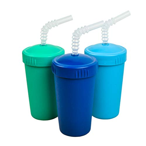 Re-Play Made in USA 3pk Straw Cups with Reversable Straw for Easy Baby, Toddler, Child Feeding - Aqua, Sky Blue, Navy (True Blue)