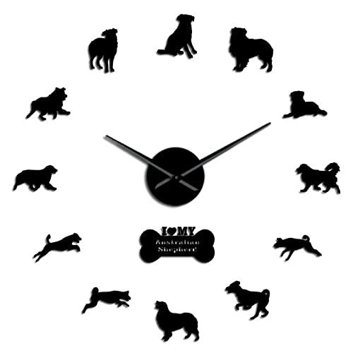 Reloj de Pared Perro Pastor Australiano Australiano Pegatinas de Espejo acrílico decoración DIY Reloj de Pared Grande Perro Pastor Australiano Reloj de Pared Grande sin Marco