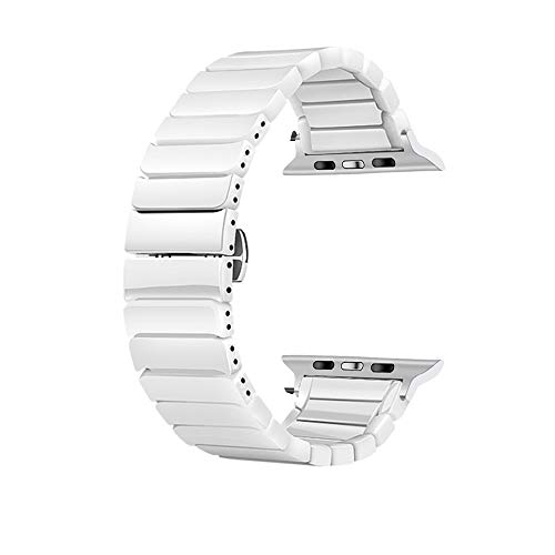 YOUKEX Ceramic 38mm 40mm 42mm 44mm Watch Band for Apple Watch Series 5 4 3 2 1 White