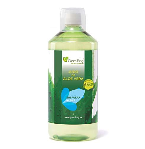 Green Frog Jugo de Aloe Vera Bio sin Pulpa - Producto Fresco - Aloe Vera 99,8% Calidad Premium - 1 Botella 1 L