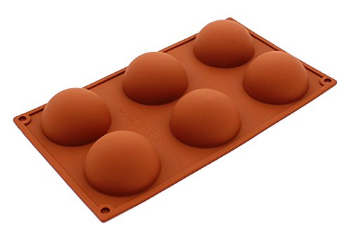 Pure Vie® 6er Silikon Backform/Muffinform für Muffins, Brownies, Cupcakes, Kuchen, Pudding, Eiswürfel und Gelee - Halbe Kugel