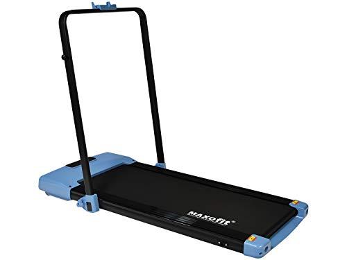 MAXOfit Mini Laufband MF-27 in blau mit klappbarem Haltegriff | perfekt für Zuhause und Büro | platzsparend und elektrisch mit Fernbedienung (Blau)