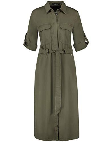 Taifun Damen Hemdblusenkleid mit Bindegürtel lässige Passform, tailliert Soft Khaki 36