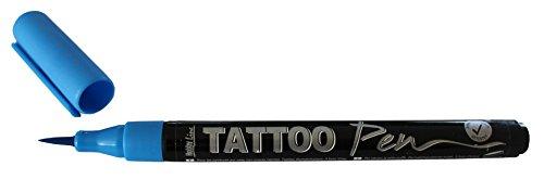 Kreul 62102 - TattooPen, Kosmetiktinte auf Wasserbasis, hält bis zu 5 Tage, dermatologisch getestet, vegan, parabenfrei, auswaschbar ab 30°C aus den meisten Textilien, Strichstärke 0,5 - 3 mm, blau