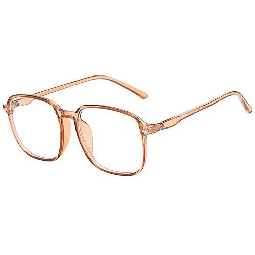 VEVESMUNDO Anti Blaulicht Brillen Blaulichtfilter Ohne Sehstärke Groß Rechteckig Modern Anti Müdigkeit Computerbrille Brillenfassung für damen (Braun, Kunststoff Rahmen)
