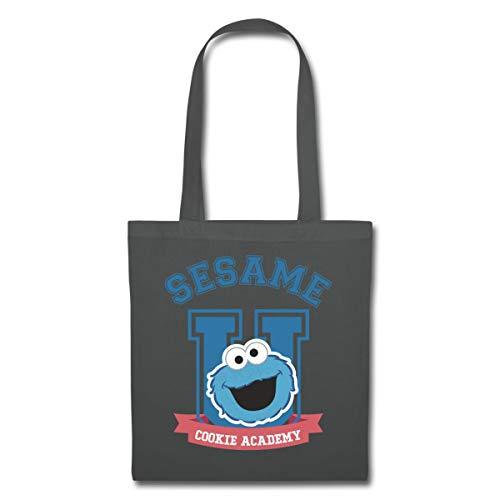 Spreadshirt Sesamstraße Cookie Academy Stoffbeutel, Graphite