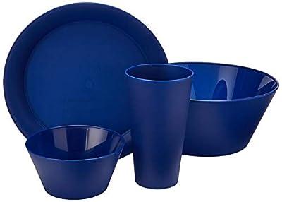 CreativeWare CH623NY 13 Piece My First Dorm/Apartment Plastic Dish Set Navy