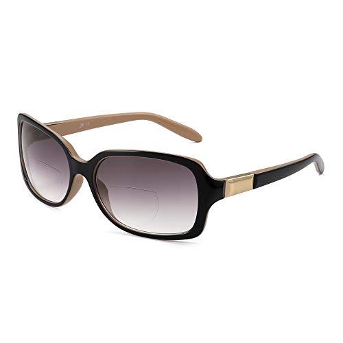JM Klassisch Bifokal Lesebrille Platz Stylish Gradient Sonnenbrillen Leser für Damen +2.5 Schwarz