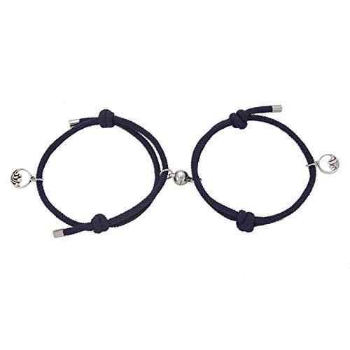 Yusea 2 pulseras de pareja, cuerda de la amistad trenzada, distancia magnética, atraen entre sí, cadena de muñeca para los amantes