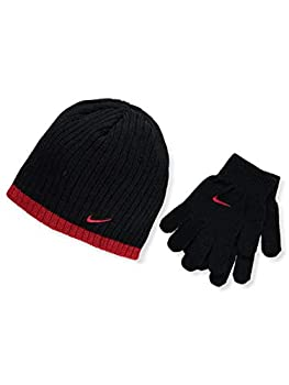 Nike Big Boys Rib Beanie and Glove Set  Black