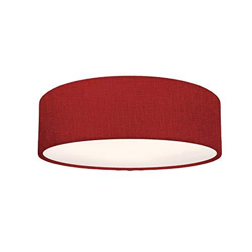 Deckenleuchte Stoffleuchte Deckenlampe rot Textilschirm, rund, 39cm, rot, 3x E27 Fassung, Deckenlampe Schlafzimmerleuchte LED tauglich, über Wandschalter dimmbar, IP20, MADE IN EU