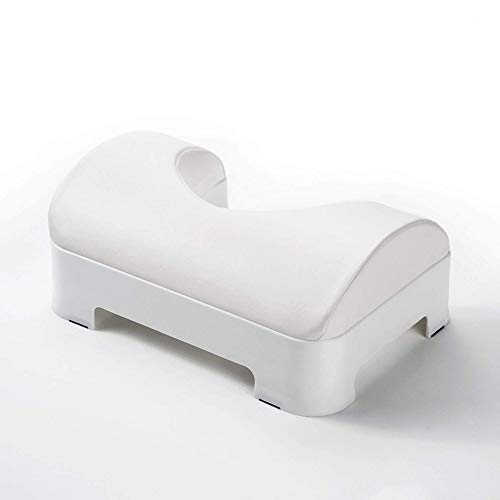 Luxe Comfort Soft & Ergonomic Toilet Footstool with Removable Soft Foam Cushion and Waterproof PU Leather Slipcover, Adjustable 5-7 Inch Height, White