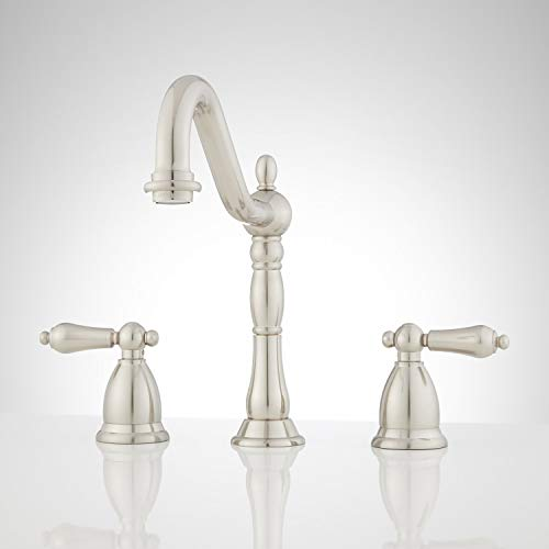 Signature Hardware 903778 Victorian Widespread Bathroom Faucet with Metal Lever Handles and Pop-Up Drain Assembly