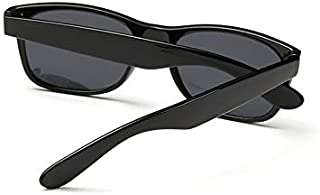 Stylish Black Rectangular Frame Black Mirror Lenses Retro Mens Womens Polarized Sunglasses [ETH]