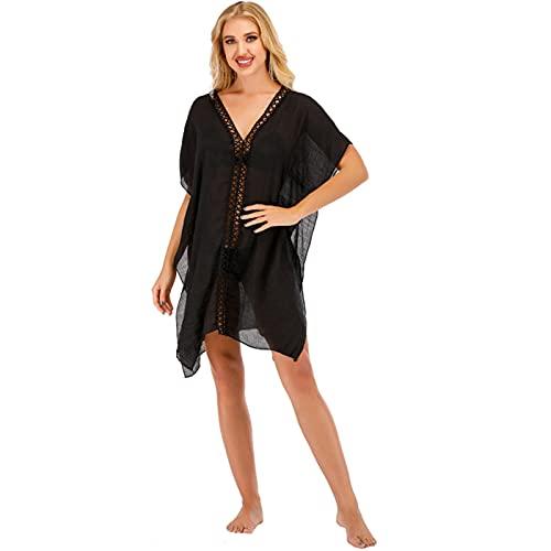 LOKKSI - Cubierta de bikini con cuello en V para mujer, sexy, para playa, informal, fiesta, fiesta, playa, vestido de playa