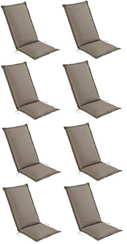 Pure Home & Garden 8er Set Hochlehner Gartenstuhl Auflagen Turf, Made IN Europe, 120 x 50 x 6 cm