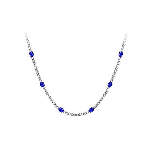 Daesar Collar Mujer Oro Blanco 18k Diamante Zafiro Colgante Boda Collar Oro Rosa Mujer
