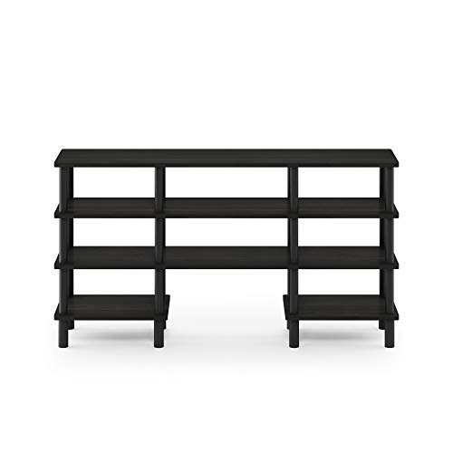 Furinno Turn-N-Tube 4-Tier Multipurpose Wide Shelf TV Stand, Espresso/Black
