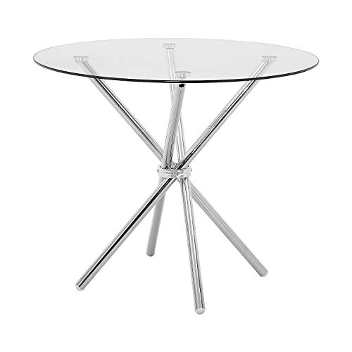 Dining Table Modern Kitchen and Dining Table with Round Glass Top and Stainless Steel Base