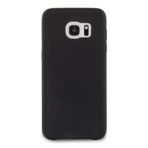 Galaxy S7 Edge Funda Piel PU CASEZA Berlin Negro - Case Cover Carcasa Tapa Trasera Piel Vegana Premium para Samsung Galaxy S7 Edge Original - Ultrafina protección Completa
