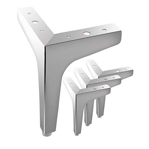 MOROBOR 4 dreieckige Möbelbeine, 15 cm, modern, Metall, verchromt, Sofa-Beine für Schrank, Tisch, Schrank, Couch, Sofa (Silber)