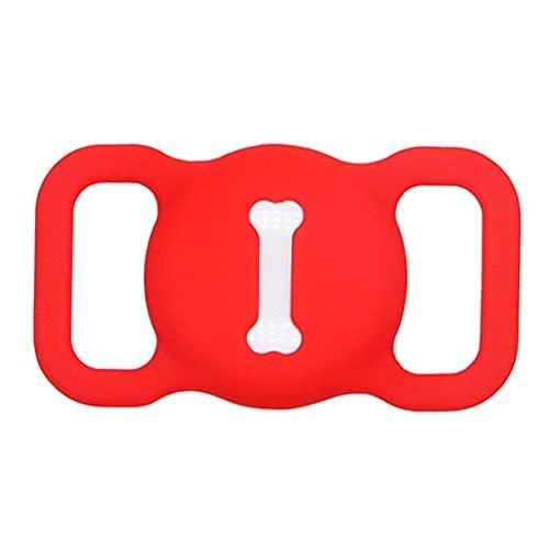 Funda protectora compatible con Apple Airtags para collar de mascotas soporte duradero rojo