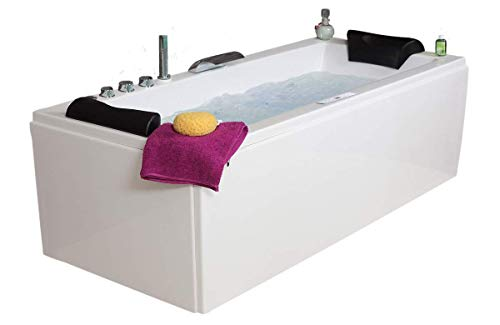 Whirlpool Badewanne Relax Profi MADE IN GERMANY 140 / 150 / 160 / 170 x 75 cm mit 22 Massage Düsen + LED + Heizung + Ozon Desinfektion + MIT Messing Armaturen verchromt Eckwanne rechts oder links Eckbadewanne