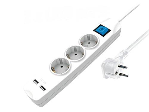 3-fach Steckdosenleiste mit 2 USB-Ladebuchsen und flacher Winkel Stecker (Steckerleiste mit erhöhtem Berührungsschutz) mit Schalter 3m weiß