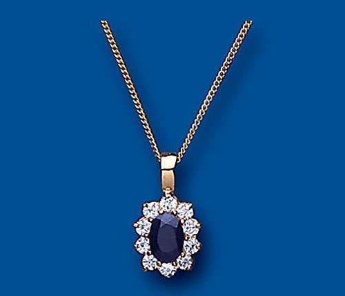 London Jewellery Quarter Zafiro Oro Amarillo Colgante Racimo Collar Contraste 18' Cadena Británico Hecho