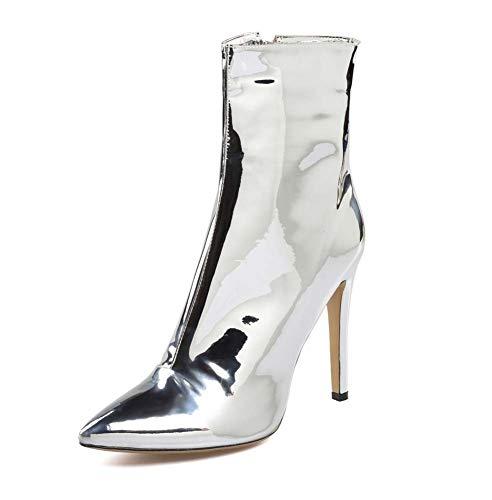 Hopsd Frauen-Lackleder Wiesen High Heel Stiefeletten in Über Kurze Stiefel,Silber,45