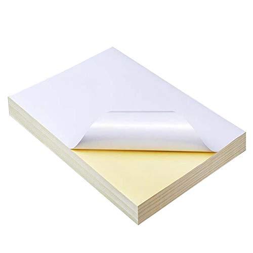 Basage 50 Hojas A4 Blanco Autoadhesivo Impermeable Etiqueta Adhesiva Papel de Superficie Brillante para Impresora de InyeccióN de Tinta Copiadora
