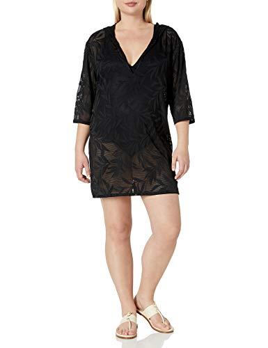 Amazon Brand - Coastal Blue Women's Plus Size Cover Up, Ebony, 1X (16W-18W)