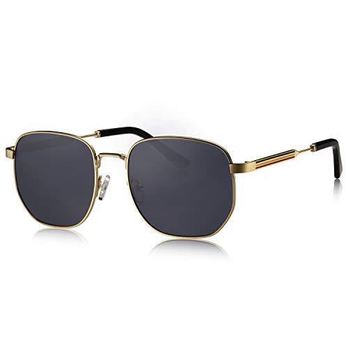 AVAWAY Stilvolle UV400 Schutz Sonnenbrille Damen Polarisierte Brille mit Metallrahmen