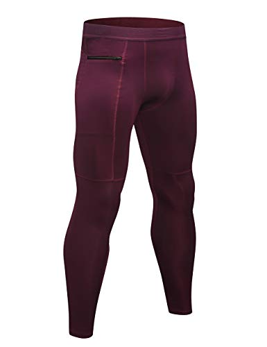 TOPTIE Men's Compression Pants Zipper Pocket Baselayer Sports Tights Leggings-Maroon-S