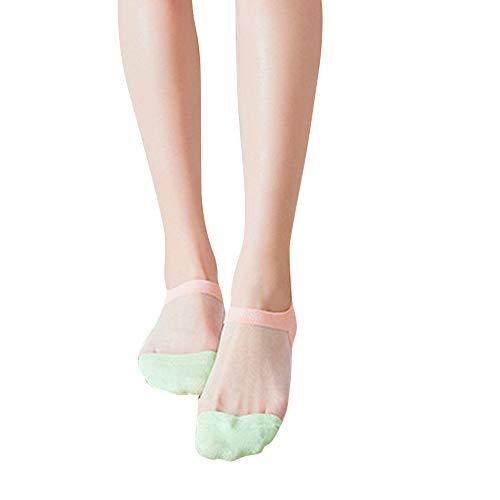 COZOCO Damen süße Socken ultradünne Transparente Socken Kristall Seide elastische Strümpfe Rechtschreibung Socken(rosa)