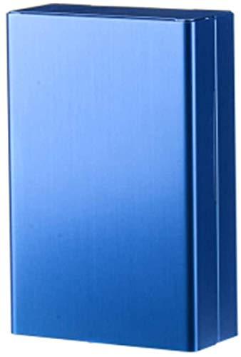Aluminum Alloy Cigarette Case Men Personality Ultrathin Portable Creative Slider Cigarette Box Automatic Cover Waterproof Cigarette Cases can Accommodate 20-8.8X5.8X2.1CM_Blue fantastic