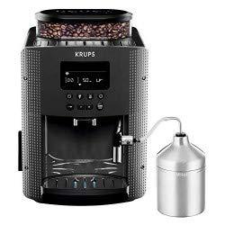 Krups YY4081FD Machine à Café Automatique avec Broyeur à Grains Expresso avec Mousseur à Lait Pot Inox Cafetière Café Grains Pression 15 Bars Thermoblock Cappuccino Espresso Noir