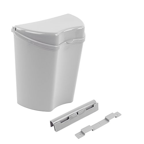 Abfalleimer grau, inkl. Halterung, kompaktes Maß (30 x 27 x 16), ideal für Camping