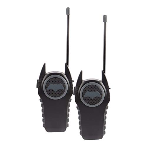 Batman 12383 Molded Walkie Talkies for Kids Flexible saftey antenna and morse code with On/Off switch, transmission, Stylish appearance, Lovely and fashion, 2 Pieces, Black